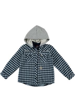 Timo Kız Çocuk Mavi Kapüşonlu Kareli Gömlek 150297620 0