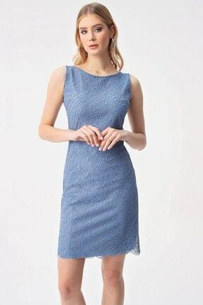 By Saygı Yuvarlak Yaka Dantelli Abiye Elbise Koyu Mavi 1