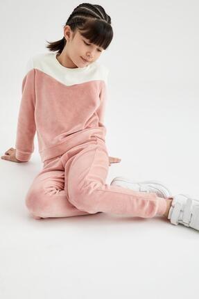 Defacto Kız Çocuk Pembe Renk Bloklu Sweatshirt Ve Jogger Eşofman Takımı 0