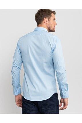 Tudors Slim Fit Likralı Açık Mavi Gömlek 2