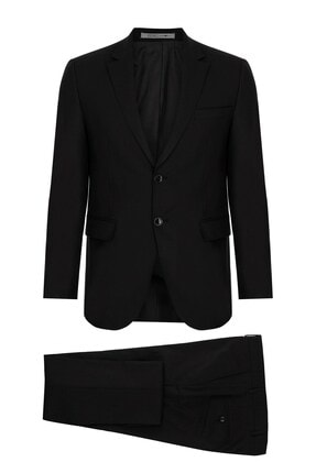 İgs Erkek Siyah Slım Fıt / Dar Kalıp Std Takım Elbise 0