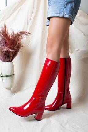 Deripabuc Hakiki Deri Kırmızı Rugan Kadın Deri Çizme Dp02-0404 1
