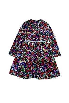 feyzamavm Renkli Desenli Bağcıklı Kadife Kız Çocuk Elbise 1