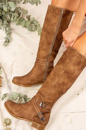 Fox Shoes Vizon Baskı Kadın Çizme E726203409 2