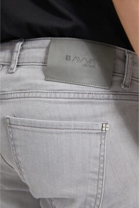 Avva Erkek Gri Slim Fit Jean Pantolon A02y3578 3