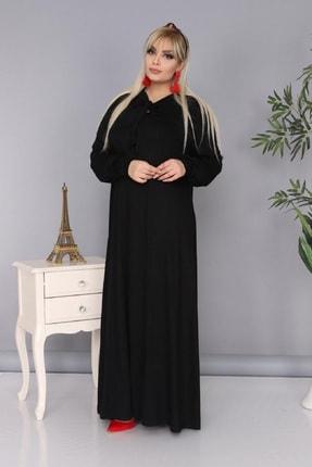 Şirin Butik Kadın Büyük Beden Siyah Renk Kravat Yaka Detaylı Viskon Elbise 2