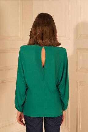adL Kadın Yeşil Örme Yakası Büzgülü Bluz 2