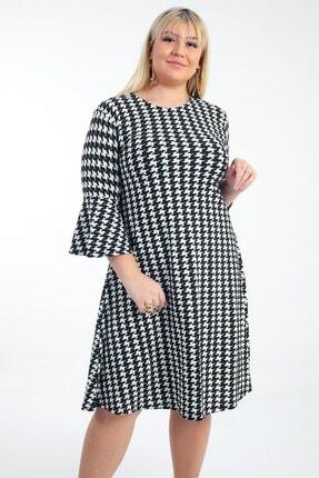 Picture of Ispanyol Kol Kazayağı Desen Örme Krep B.b Elbise Siyah