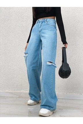 PurpuraVioleta Yanları Kesik Detay Bol Paça Jean 1