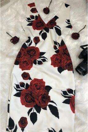 Dalgıç Kumaş Dijital Baskı On Arka V Yaka Kalem Elbise DDM1053