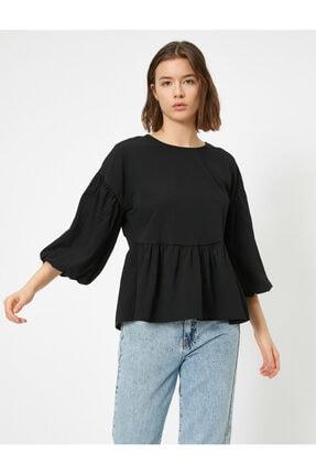 Koton Kadın Siyah Balon Kollu Fırfırlı Bluz 1