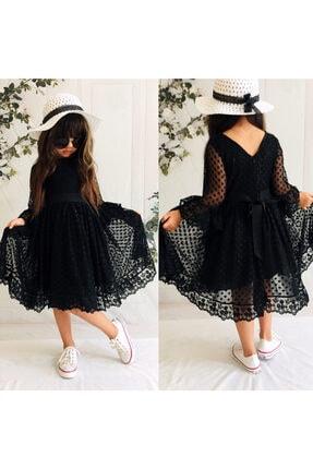 Mixie Şapkalı, Güpürlü, Prenses Model Kız Çoçuk Elbisesi 3