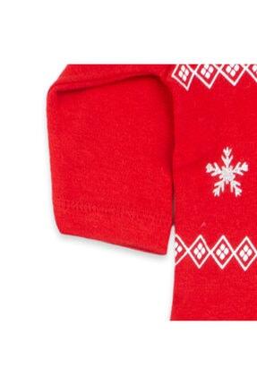 Vipbebe Geyik Baskılı Kırmızı Yılbaşı Şapkalı Bebek Çıçıtlı Body 3