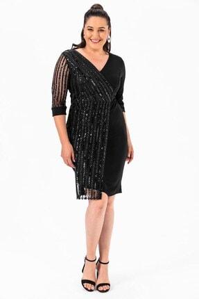 By Saygı Kol Pul Payet Büyük Beden Elbise Siyah 2