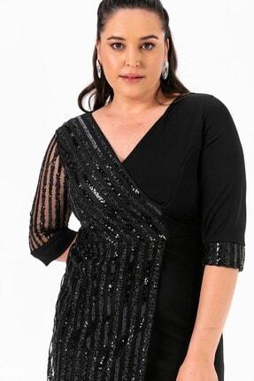 By Saygı Kol Pul Payet Büyük Beden Elbise Siyah 3