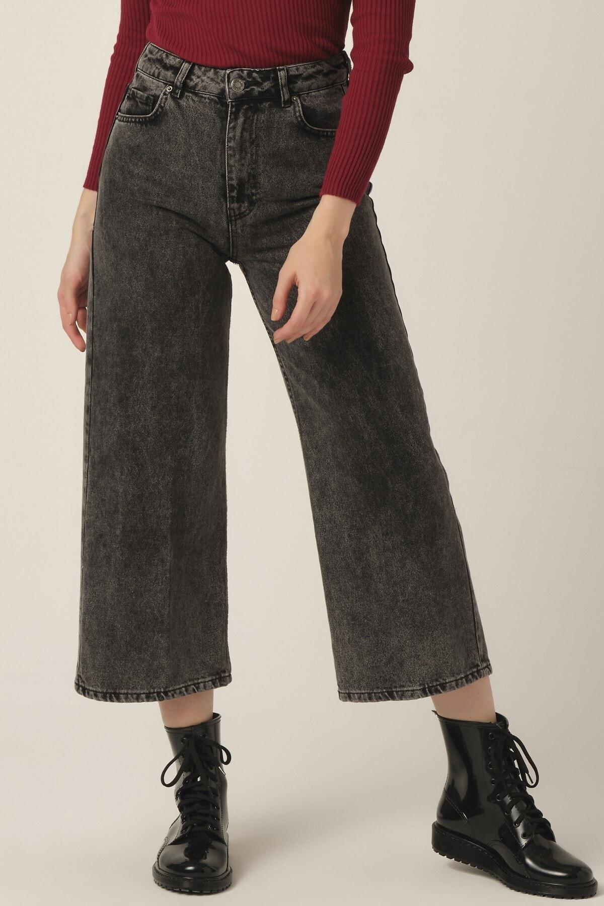 Kadın Füme Renk Wide Leg Kalıp Bol Paça Jean
