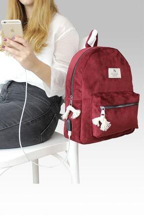 My Valice Smart Bag Usb Şarj Girişli Kadife Sırt Çantası 1201 Bordo 1