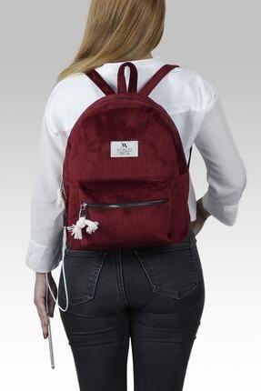 My Valice Smart Bag Usb Şarj Girişli Kadife Sırt Çantası 1201 Bordo 4