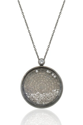 Gümüş Pazarım Siyah Kaplama Esma- Ül Hüsna Yazılı Camlı Gümüş Kolye 0