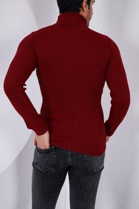 Public Jeans Erkek Bordo Boğazlı Uzun Kol Fitilli Triko Kazak 052228 1