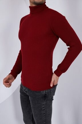 Public Jeans Erkek Bordo Boğazlı Uzun Kol Fitilli Triko Kazak 052228 2