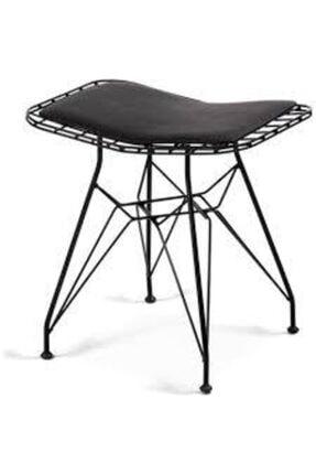 AYALİNA Tel Tabure Kafes Tabure Metal Siyah 2 Li Tabure Mutfak Ofis Bahçe 2