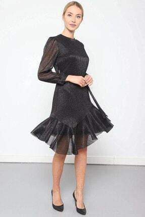 Journey Elbise Bilezik Yaka- Kol Üstü Pileli, Eteği Asimetrik Volanlı 0