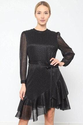 Journey Elbise Bilezik Yaka- Kol Üstü Pileli, Eteği Asimetrik Volanlı 1