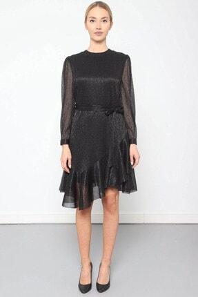 Journey Elbise Bilezik Yaka- Kol Üstü Pileli, Eteği Asimetrik Volanlı 2