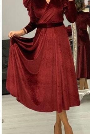 MACFLY Kuşaklı Midi Boy Kruvaze Yaka Kadife Elbise 2
