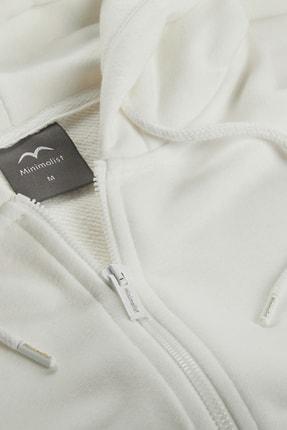 Minimalist Kadın Beyaz Kapşonlu Fermuarlı Basic Sweatshirt 2