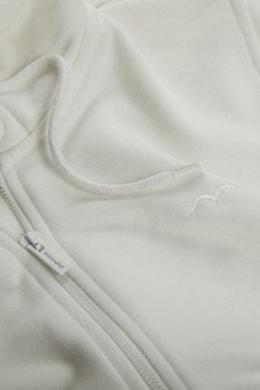 Minimalist Kadın Beyaz Kapşonlu Fermuarlı Basic Sweatshirt 3