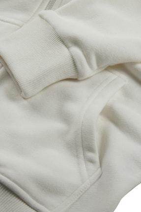 Minimalist Kadın Beyaz Kapşonlu Fermuarlı Basic Sweatshirt 4