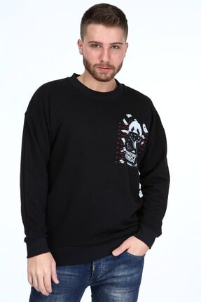 Millionaire Siyah Pandemic Panda Baskılı Oversize Erkek Sweatshirt 3