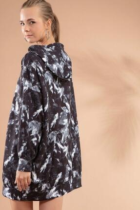 Pattaya Kadın Siyah Baskılı Kapşonlu Sweatshirt Elbise P20w-4125-2 4