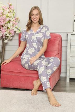 modalove Kadın Düğmeli Kısa Kol Pamuklu Pijama Takımı 0