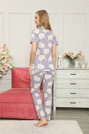 modalove Kadın Düğmeli Kısa Kol Pamuklu Pijama Takımı 2