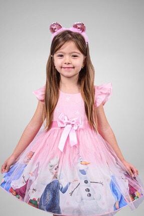 Minik Dolap Kız Çocuk Pembe Tüllü Elsa Elbise 1