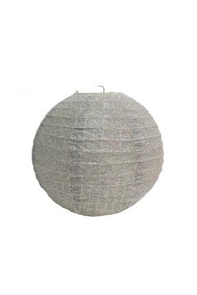 Niyet Japon Feneri - Simli Gümüş - Dekorasyon - Süsleme - Çap 25cm 0