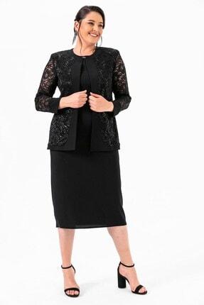 Picture of Dantelli Geniş Kesim Elbiseli Takım Siyah