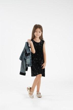 Minik Dolap Kız Çocuk Siyah Kot Ceketli Payetli Elbise 2