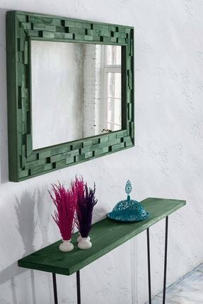 bluecape Doğal Ağaç Jenga Boy Konsol Ayna Ve Yeşil Kalorifer Petek Üstü Koridor Demir Ayak Dresuar Takımı 1