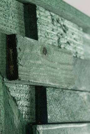 bluecape Doğal Ağaç Jenga Boy Konsol Ayna Ve Yeşil Kalorifer Petek Üstü Koridor Demir Ayak Dresuar Takımı 2