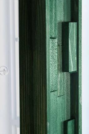 bluecape Doğal Ağaç Jenga Boy Konsol Ayna Ve Yeşil Kalorifer Petek Üstü Koridor Demir Ayak Dresuar Takımı 3