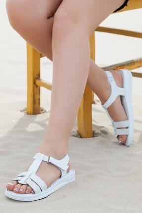 Deripabuc Hakiki Deri Beyaz Kadın Deri Sandalet Dp05-s010 1