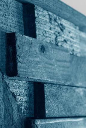 bluecape Doğal Ağaç Jenga Boy Konsol Ayna Ve Mavi Kalorifer Petek Üstü Koridor Demir Ayak Dresuar Takımı 4