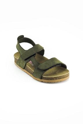 Minipicco Erkek Çocuk Haki Deri Ortopedik Sandalet 1