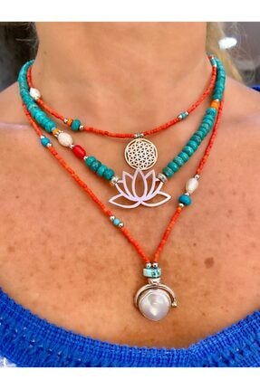 splashtakı Doğaltaş 925 Ayar Gümüş Yaşam Çiçeği, Lotus Çiçeği, Sedef Inci Kolye Kombin 0