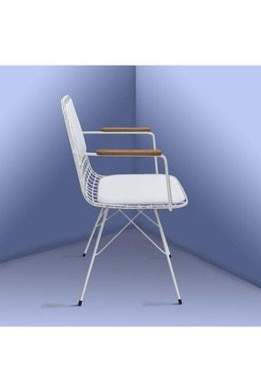 Theia Tasarım Kolçaklı Ve Sırt Minderli Beyaz Tel Sandalye 2