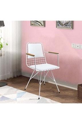 Theia Tasarım Kolçaklı Ve Sırt Minderli Beyaz Tel Sandalye 4